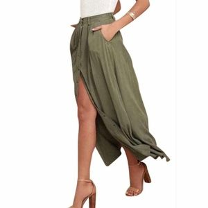 NWT Pistola Button Front Maxi Skirt Scout Green S